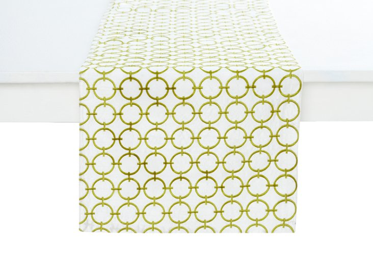 Geo Circles Runner, Lime Green