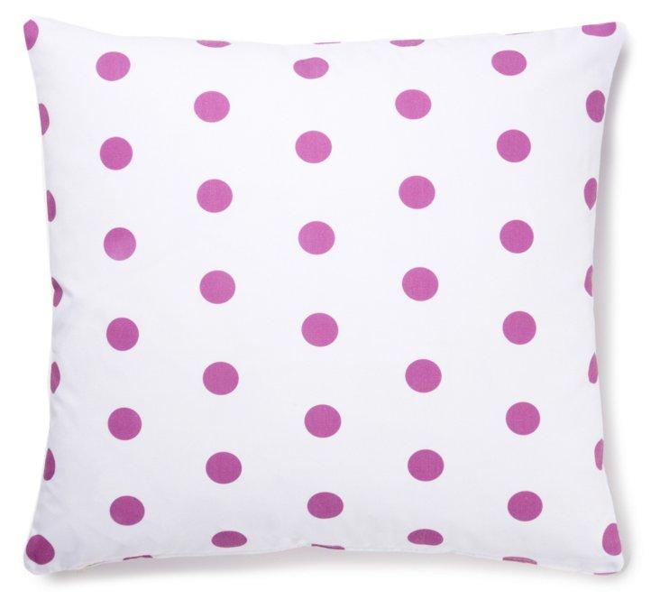 Polka Dot 20x20 Cotton Pillow, Pink