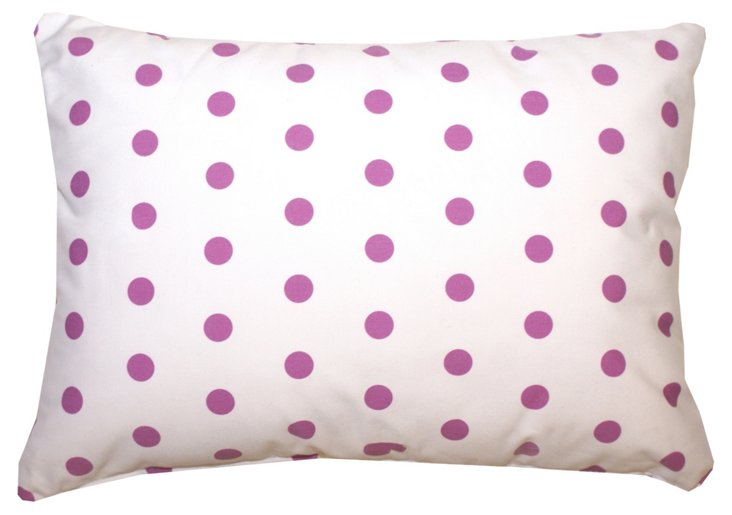 Large Polka Dot 14x20 Pillow, White