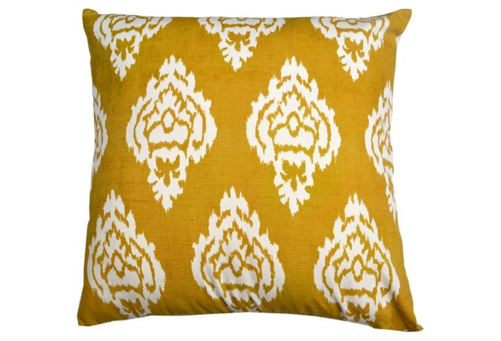 Damask 20x20 Cotton Pillow, Mustard