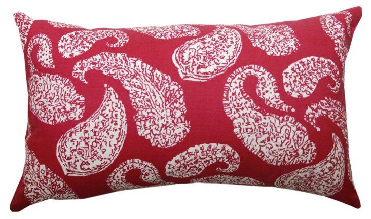 Paisley 14x20 Cotton Pillow, Cranberry