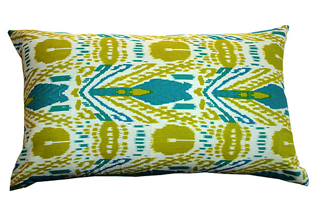 Ikat 14x24 Pillow, Green & Blue