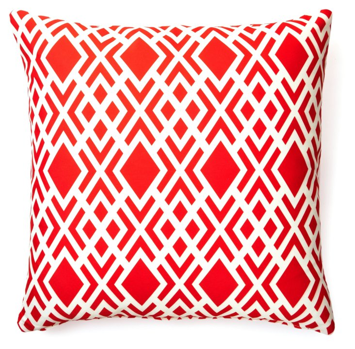 Geometric 20x20 Outdoor Pillow, Red