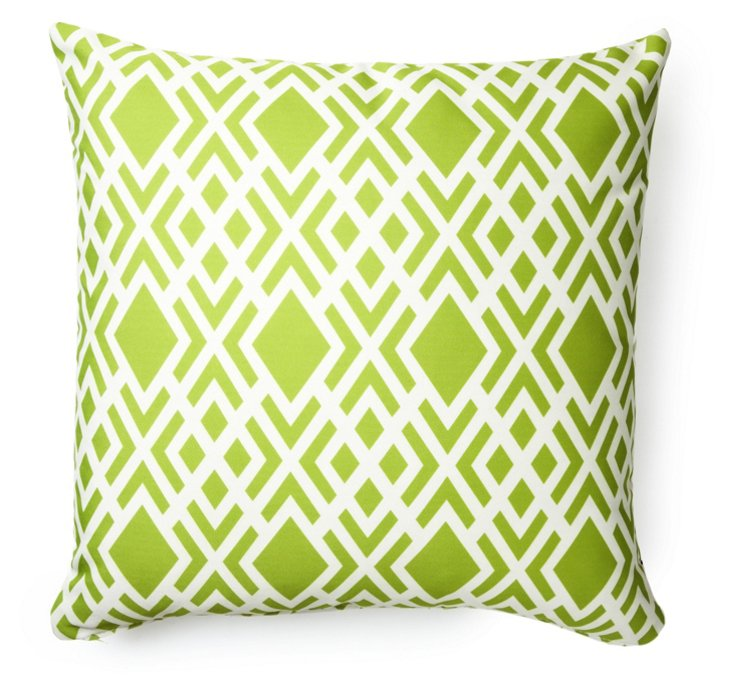 Geometric 20x20 Outdoor Pillow, Lime