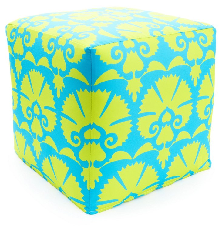 Drama Outdoor Pouf, Green/Blue