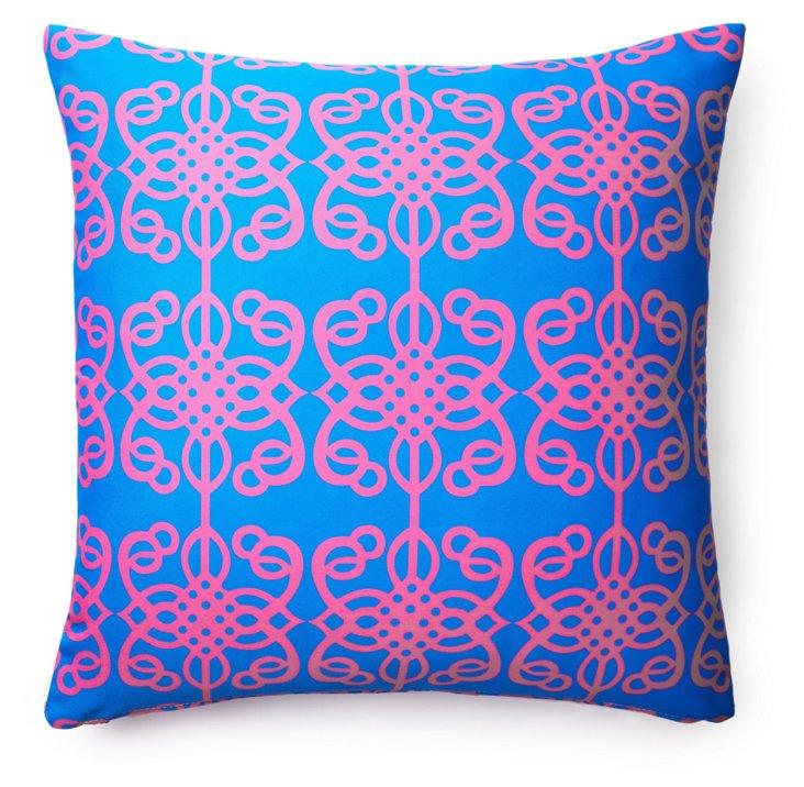 Tribal 20x20 Outdoor Pillow, Blue/Pink
