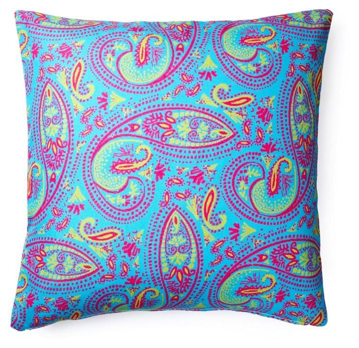 Paisley 20x20 Outdoor Pillow, Teal
