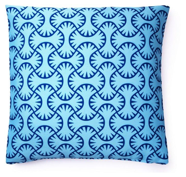 Maze 20x20 Outdoor Pillow, Light Blue