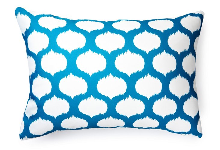 Ikat Circles 14x20 Outdoor Pillow, Blue