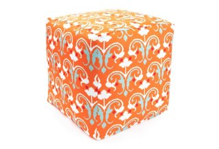 16x16x16 Leela Outdoor Pouf, Orange