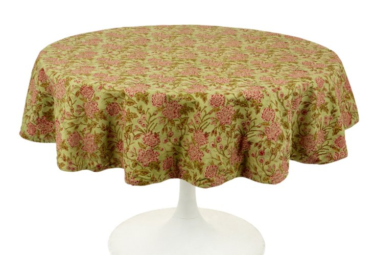 """Floral Round 50"""" Tablecloth, Lime"""