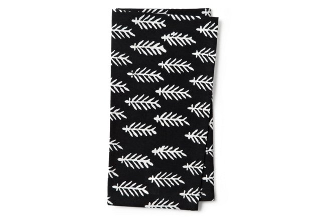 S/4 Napkins, Black/White