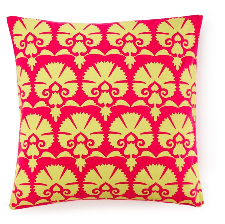 Mandwa 20x20 Cotton Pillow, Magenta