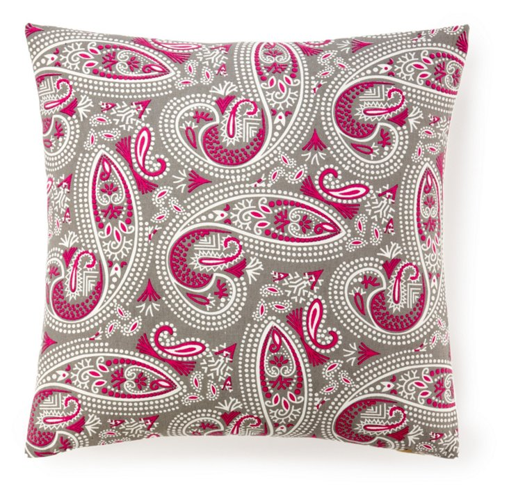 Swirl Paisley 20x20 Cotton Pillow, Pink
