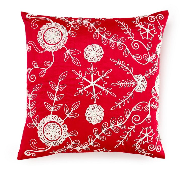 Dori 20x20 Embroidered Pillow, Magenta