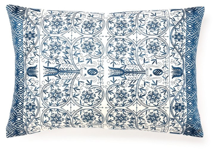 Luxe 14x20 Embroidered Pillow, Blue