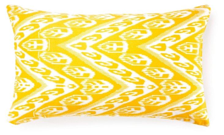 Ikat 14x24 Cotton Pillow, Yellow