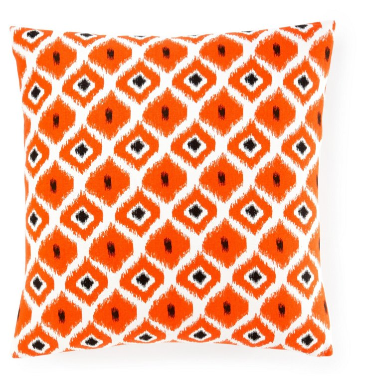 Geo Ikat 20x20 Cotton Pillow, Orange