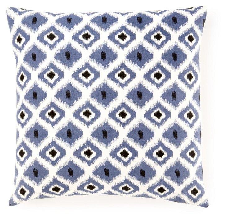 Geo Ikat 20x20 Cotton Pillow, Blue