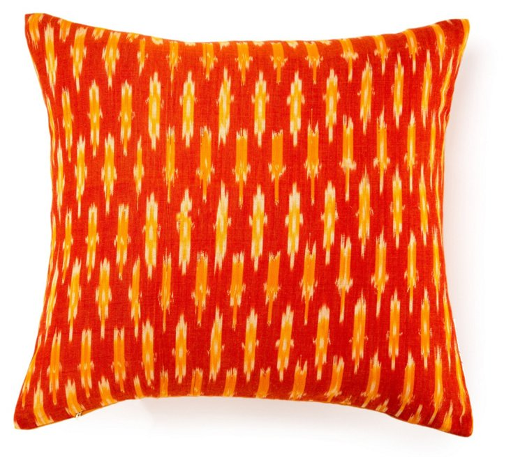 Woven Ikat 20x20 Cotton Pillow, Orange