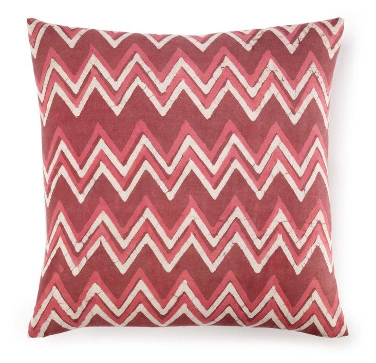 Batik Chevron 20x20 Cotton Pillow, Mauve