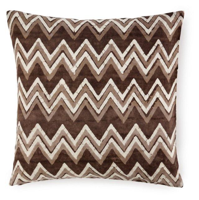 Batik Chevron 20x20 Cotton Pillow, Brown
