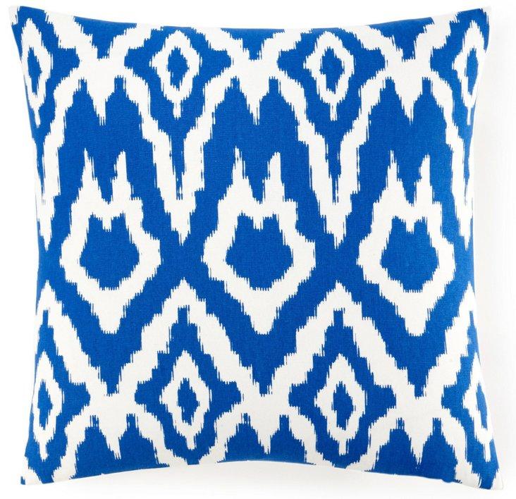 Ikat 20x20 Cotton Pillow, Royal