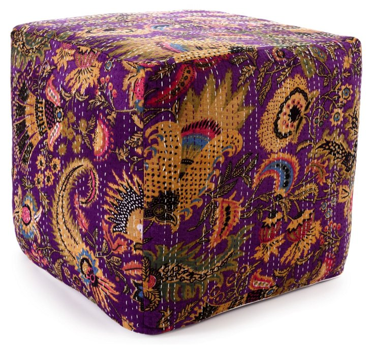 Kantha Pouf, Purple/Multi