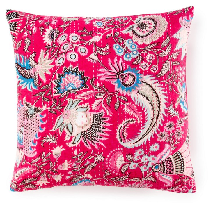 Kantha 20x20 Embroidered Pillow, Pink