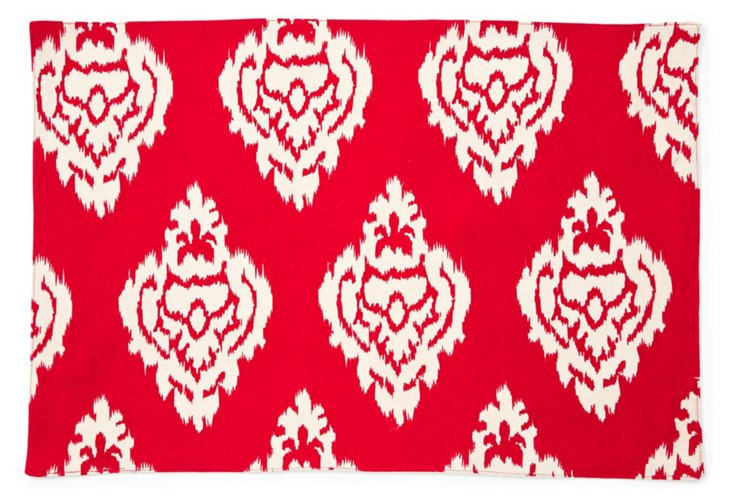 S/4 Ikat Damask Place Mats, Red