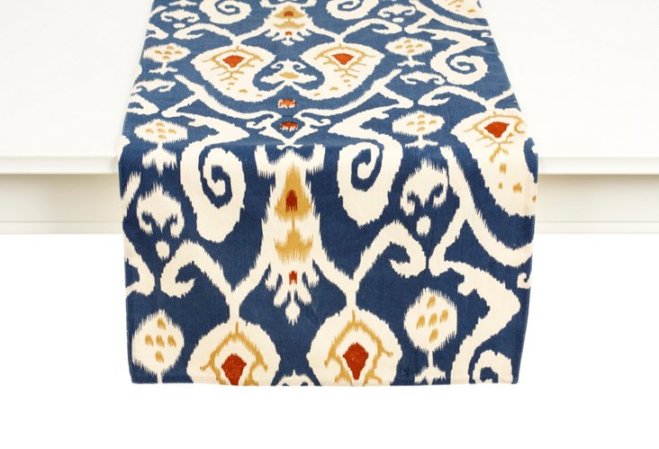 Ikat Table Runner, Blue