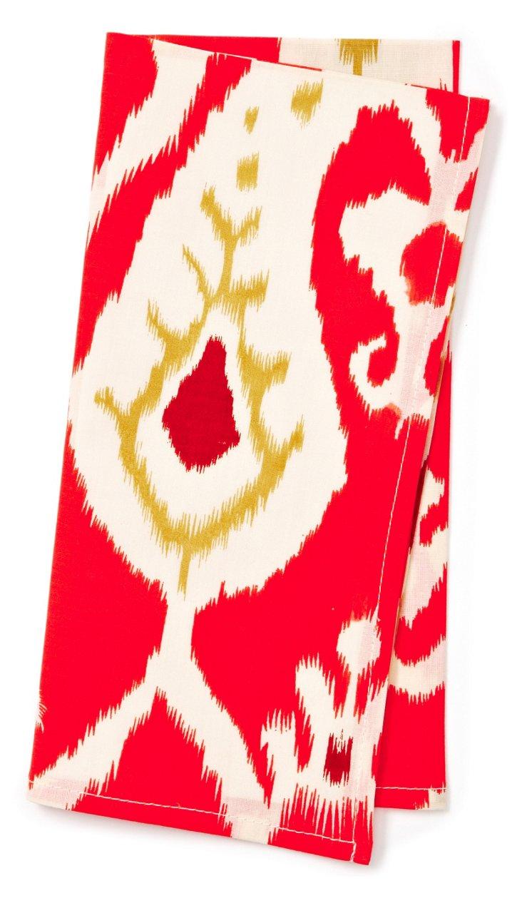 S/4 Ikat Dinner Napkins, Bright Red