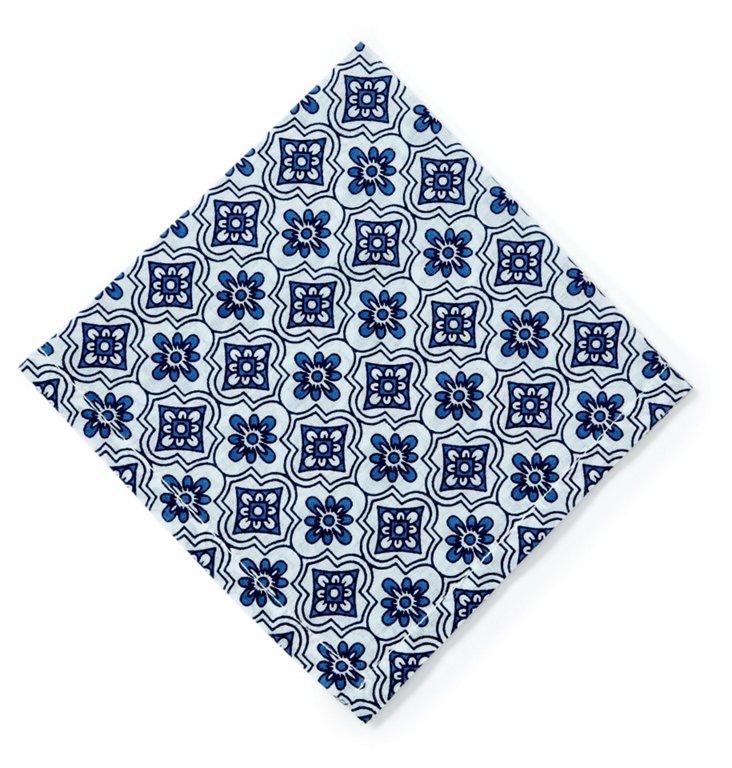 S/4 Mosaic Cocktail Napkins, Blue