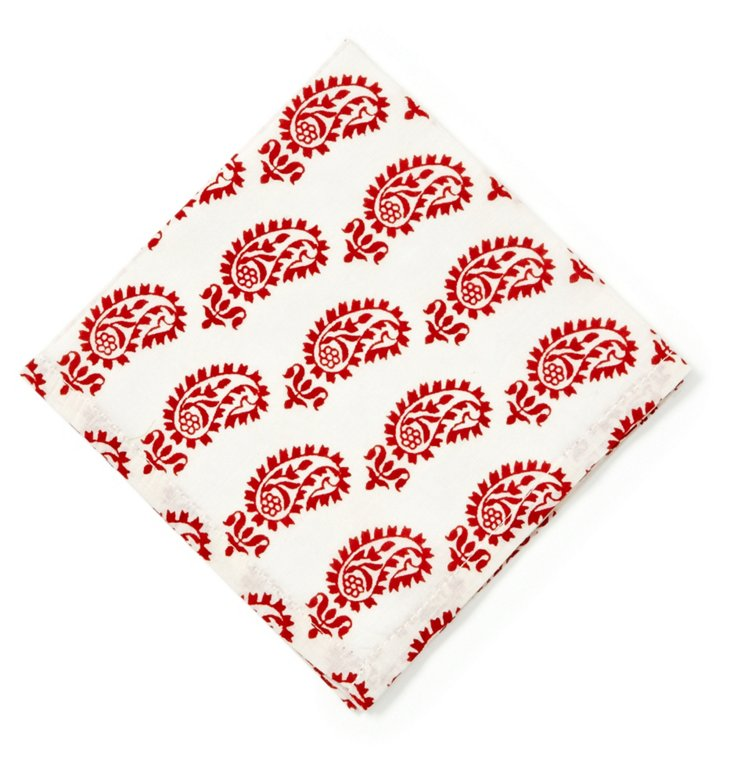 S/6 Printed Cocktail Napkins, Red