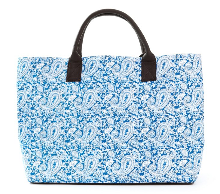 Structured Market Tote, Blue Pushpa
