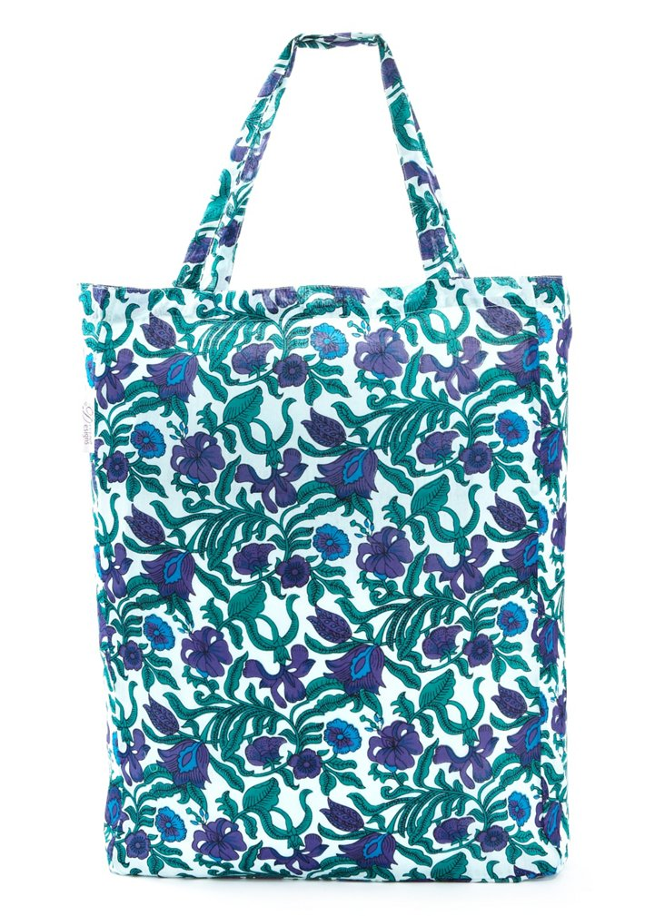 Lightweight Market Tote, Purple Jardin