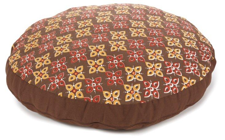 Floral Motif Round Dog Bed, Brown