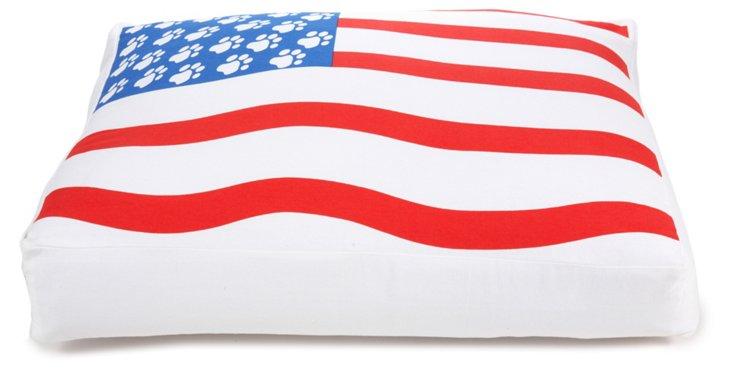 American Flag Print Dog Bed
