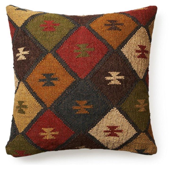 Kilim 24x24 Wool-Blended Pillow, Multi