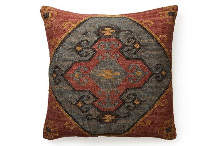 Hutu 30x30 Kilim Floor Pillow, Red
