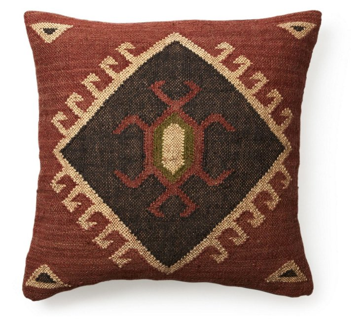 Ijaw 24x24 Floor Pillow, Red/Blue
