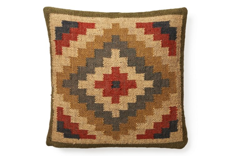 Kilim 20x20 Pillow, Red/White/Blue