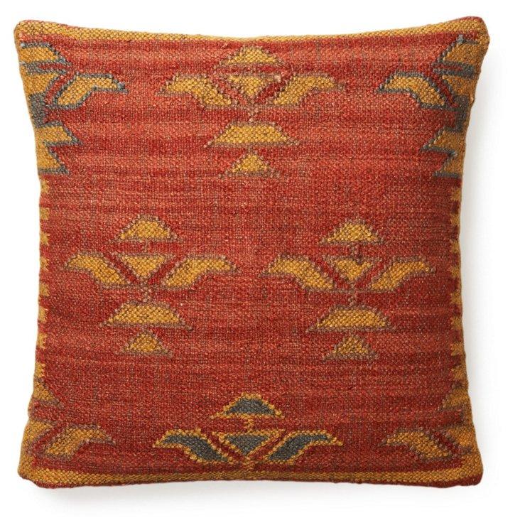 Kilim 20x20 Wool-Blend Pillow, Red