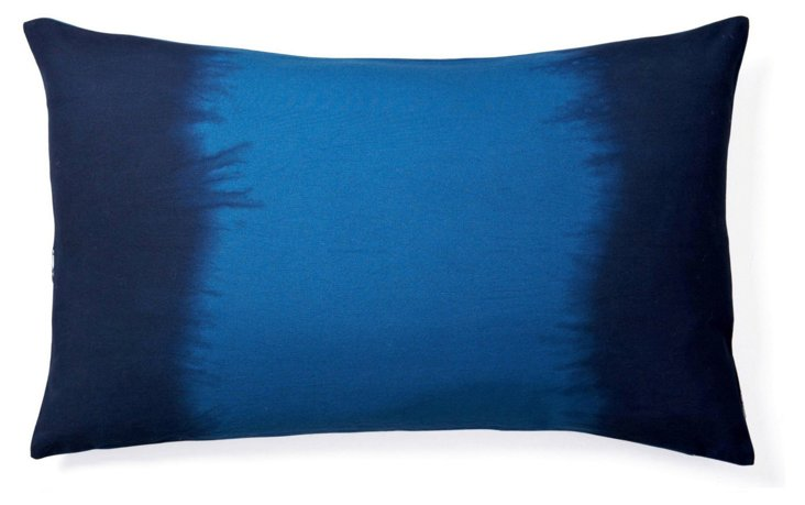 Tie-Dye 14x24 Cotton Pillow, Blue