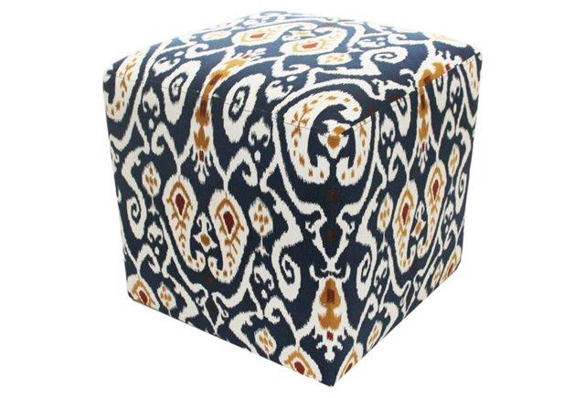 Cube Ikat Ottoman, Navy