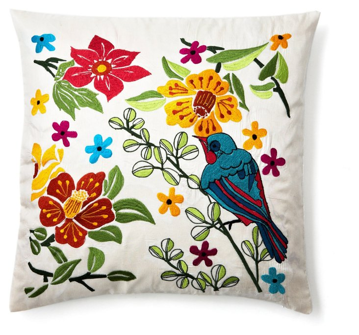 Flowers 18x18 Embroidered Pillow, Multi