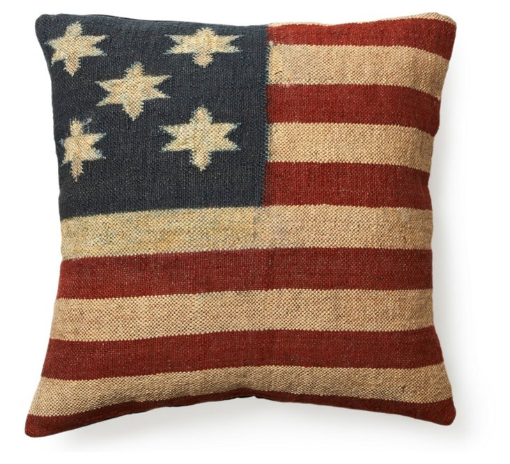 Flag 24x24 Wool-Blend Pillow, Multi