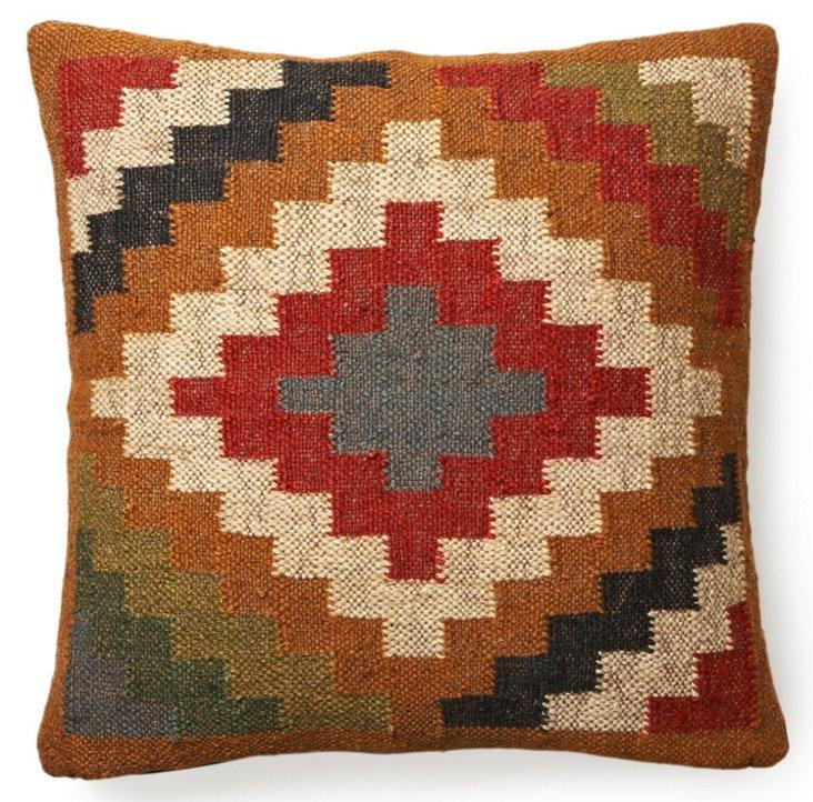 Kilim 20x20 Wool-Blend Pillow, Multi