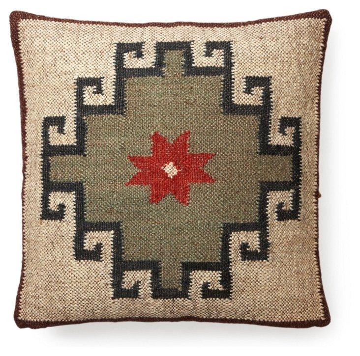 Kilim 20x20 Wool-Blend Pillow, Beige