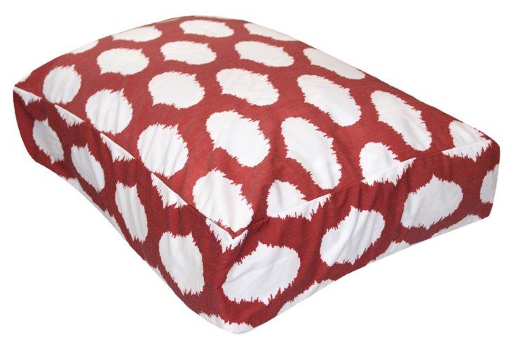 Ikat Circles Dog Bed, Red
